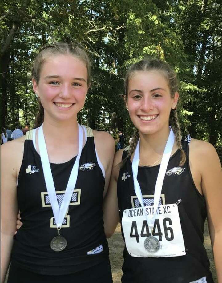 Freshman Maggie Basbagill and senior Alessandra Zaffina were Trumbull's medalists at the Ocean State XC Invitational. Photo: Contributed Photo / Trumbull High Athletics / Trumbull Times