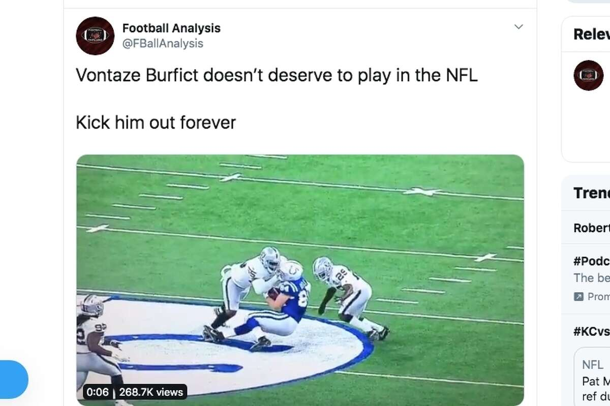 Oakland Raiders linebacker Vontaze Burfict was ejected from the Raiders game against the Indianapolis Colts on Sunday after laying a flagrant helmet-to-helmet hit on Colts tight end Jack Doyle early in the second quarter of the game.