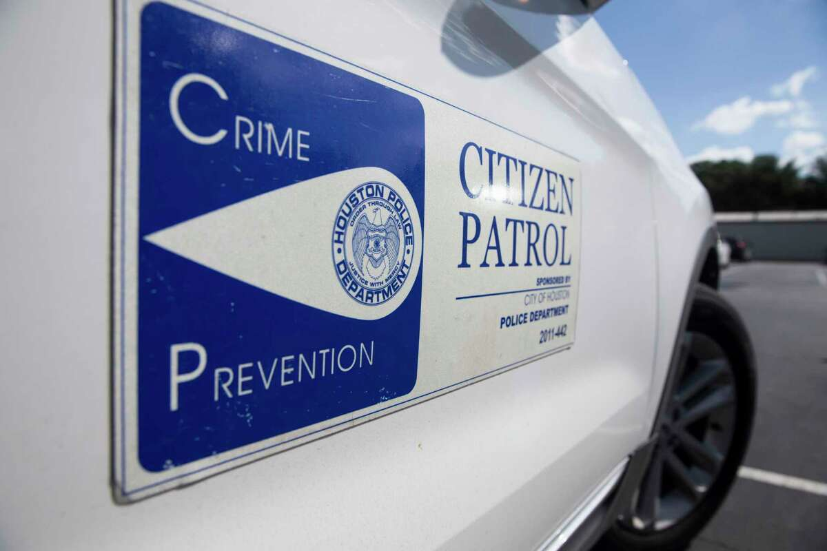 Rick Fritz, of Meyerland Citizen Patrol, drives a SUV that has Citizen Patrol stickers on both sided on Thursday, Sept. 26, 2019, in Houston. Fritz is a volunteer leader who drives around and patrols the Meyerland neighborhood looking for signs of trouble.