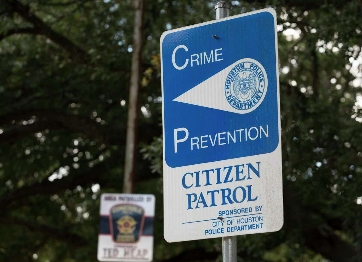 A Citizen Patrol sign is photographed in the Meyerland neighborhood behind Pilgrim Lutheran Church on Thursday, Sept. 26, 2019, in Houston.