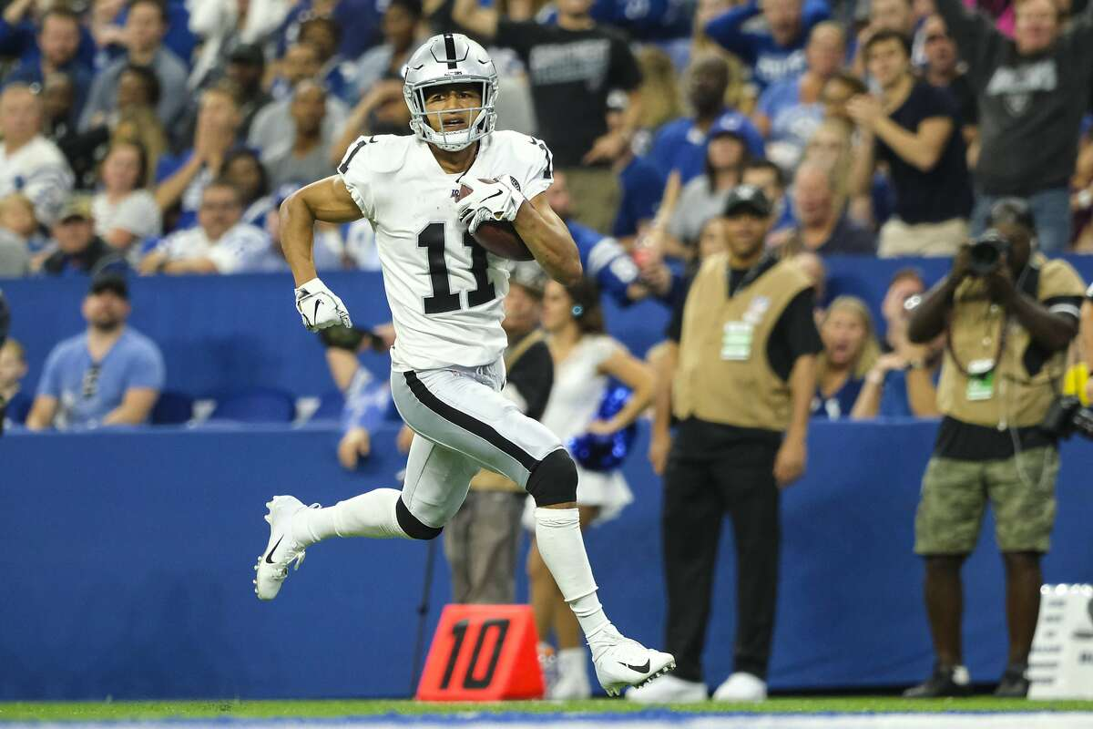 Oakland Raiders wide receiver Trevor Davis (11) runs in for a touchdown against the Indianapolis Colts during the first half of an NFL football game in Indianapolis, Sunday, Sept. 29, 2019. (AP Photo/AJ Mast)