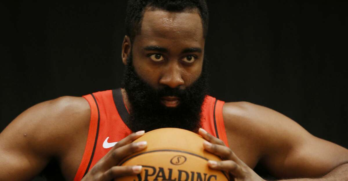 PHOTOS: Rockets Media Day Houston Rockets guard James Harden (13) poses for a photo during Houston Rockets Media Day on Friday, Sept. 27, 2019, in Houston.
