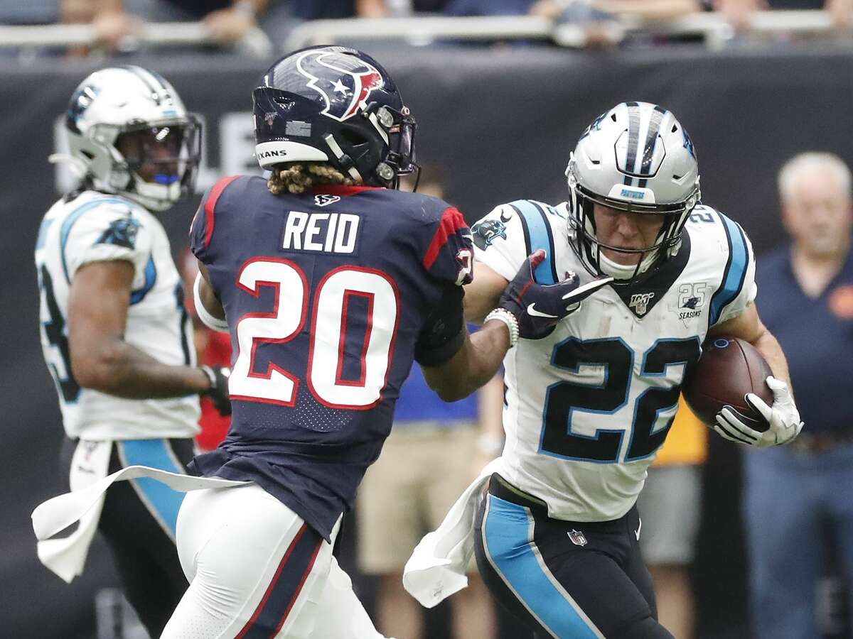 Panthers running back Christian McCaffrey, who lit up the Texans as a runner and receiver during their 2019 meeting, will get to play a Houston defense without safety Justin Reid, his former Stanford teammate.