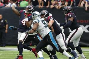 Houston Texans quarterback Deshaun Watson (4) throws a pass against the Carolina Panthers during an NFL football game at NRG Stadium on Sunday, Sept. 29, 2019, in Houston.