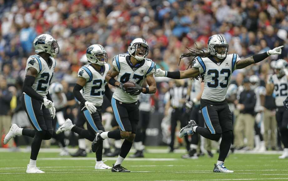 Carolina Panthers defensive back Ross Cockrell (47) celebrates with teammates after intercepting the ball against the Houston Texans during the second quarter of an NFL game at NRG Stadium Sunday, Sept. 29, 2019, in Houston. Photo: Godofredo A Vásquez/Staff Photographer