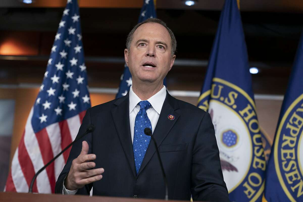 House Intelligence Committee Chairman Adam Schiff, D-Calif., talks to reporters about the release by the White House of a transcript of a call between President Donald Trump and Ukrainian President Voldymyr Zelenskiy, in which Trump is said to have pushed for Ukraine to investigate former Vice President Joe Biden and his family, at the Capitol in Washington, Wednesday, Sept. 25, 2019. House Speaker Nancy Pelosi, D-Calif., and the Democrats are now launching a formal impeachment inquiry against President Donald Trump. Rep. Schiff characterized Trump's words saying,