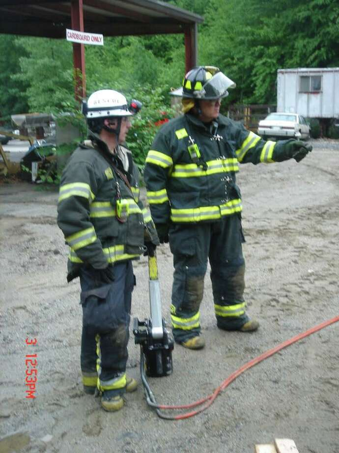 """A photo of Leonard """"Lenny"""" Blace Antinozzi with a fellow firefighter during his time with the Derby Fire Department. Photo: Contributed Photo / Storm Engine Company #2"""