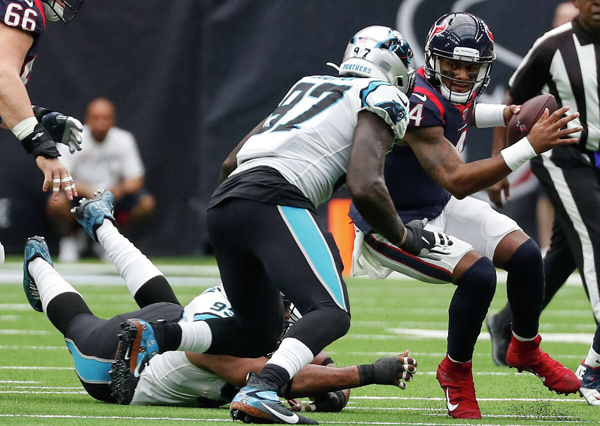 Deshaun Watson took his lumps Sunday against Carolina in what may have been his worst game as the Texans' starting QB.