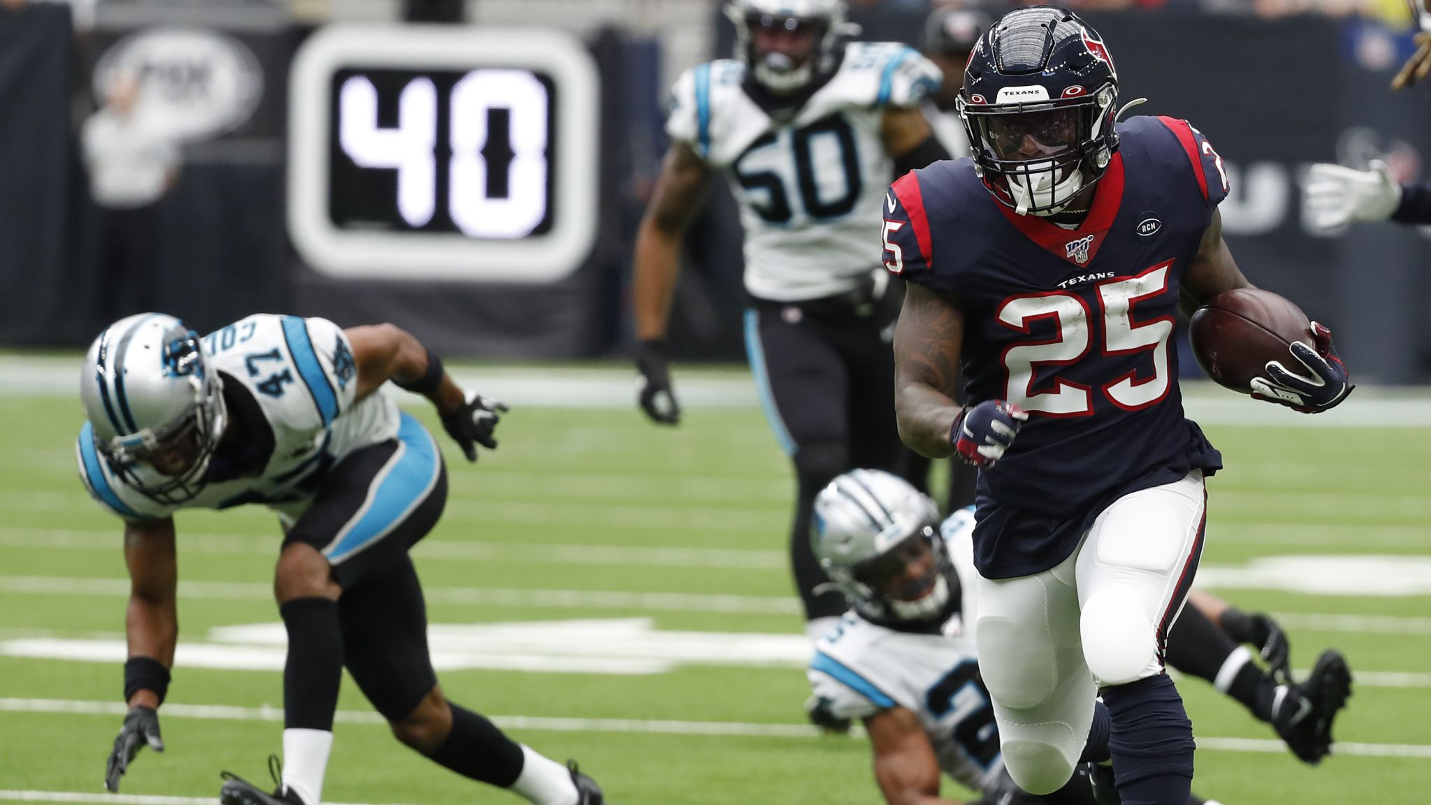 Texans' running game shows life in loss to Panthers