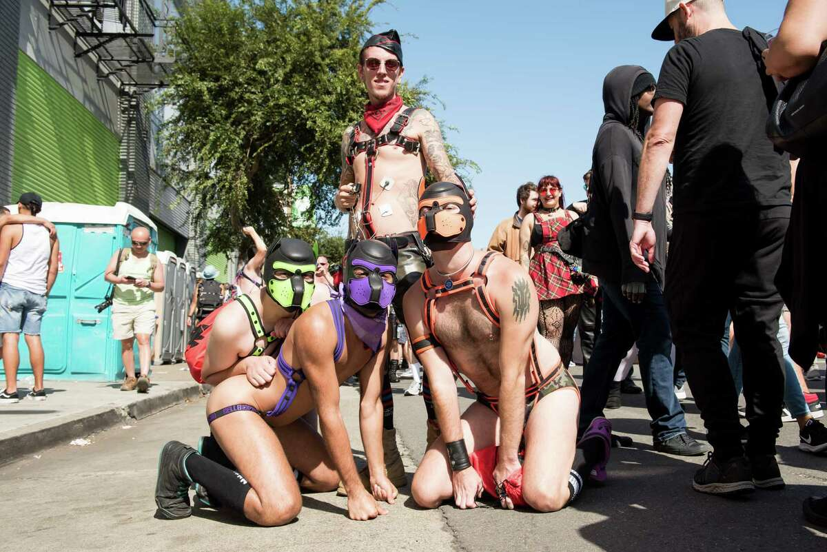 """FILE - The weather was beautiful for the 36th annual Folsom Street Fair in 2019, which hosted """"longtime leather daddies"""", """"rosy-cheeked newcomers"""", and everyone in between. This year's celebration, along with July's Up Your Alley event, will be held virtually."""