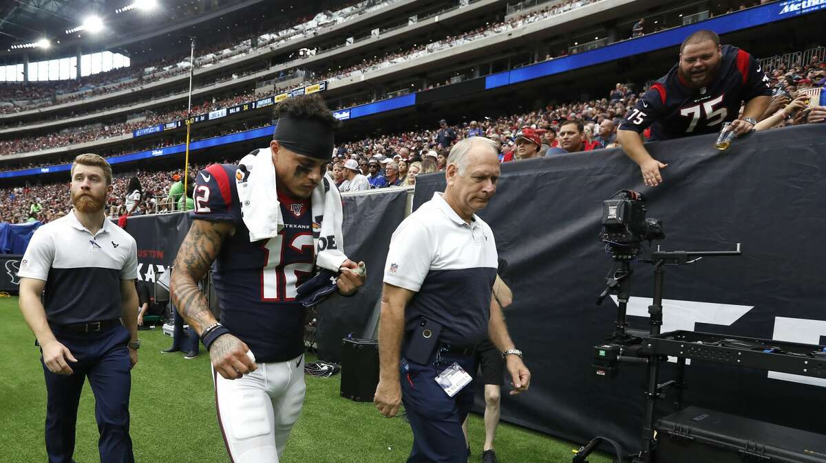Houston Texans wide receiver Kenny Stills (12) walks back to the locker room during the first half of an NFL football game at NRG Stadium on Sunday, Sept. 29, 2019, in Houston.