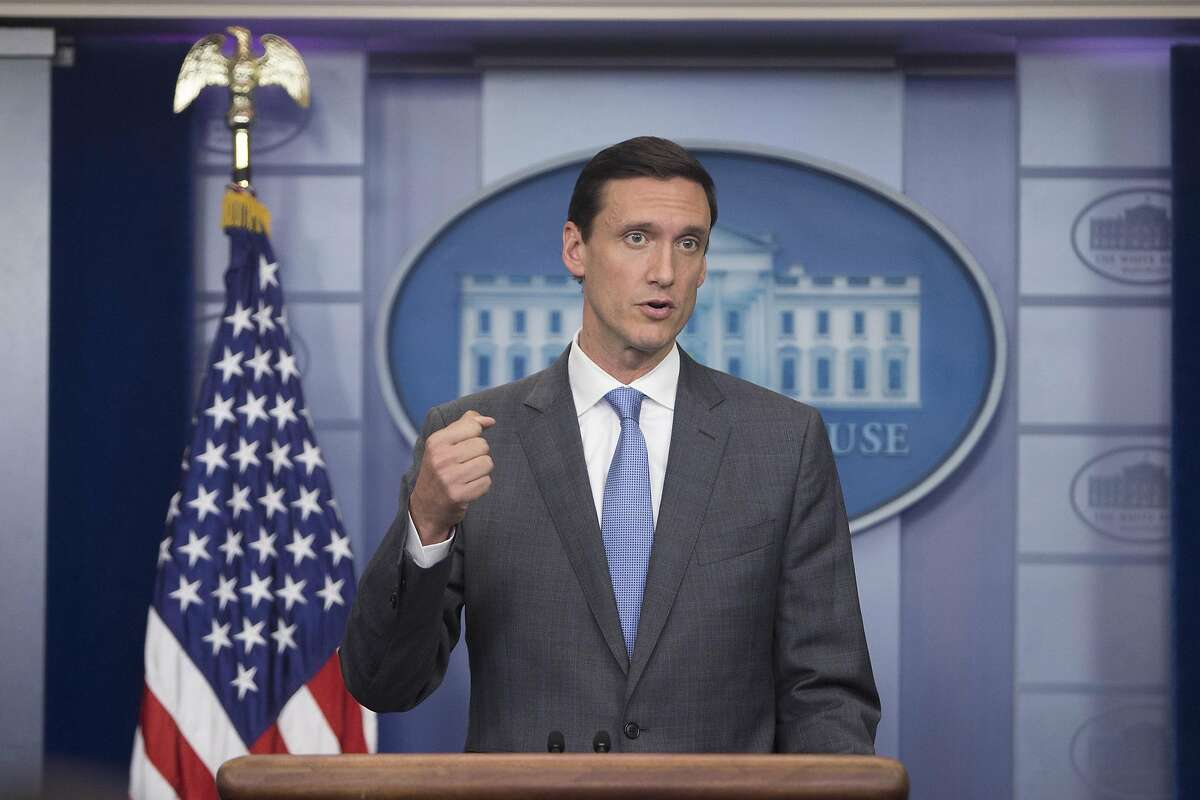 """FILE -- Then Homeland Security Adviser Tom Bossert speaks during a news conference at the White House in Washington, Aug. 25, 2017. Bossert, President Donald Trump's first homeland security adviser, said on Sept. 29, 2019, that he was """"deeply disturbed"""" by Trump's effort to pressure a foreign leader to investigate his political rival, while Democrats moved forward with their rapidly evolving impeachment inquiry into the president. (Tom Brenner/The New York Times)"""