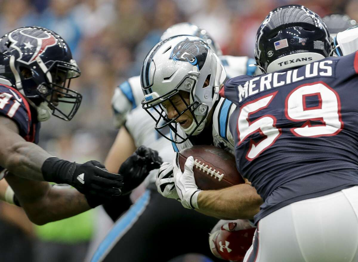 Carolina Panthers running back Christian McCaffrey (22) runs the ball against the Houston Texans during the fourth quarter of an NFL game at NRG Stadium Sunday, Sept. 29, 2019, in Houston. The Panthers won 16-10.
