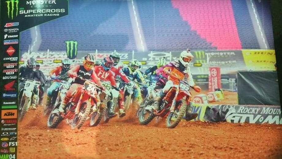 Matthew Sape (132) leads a motocross race. (Photo provided)