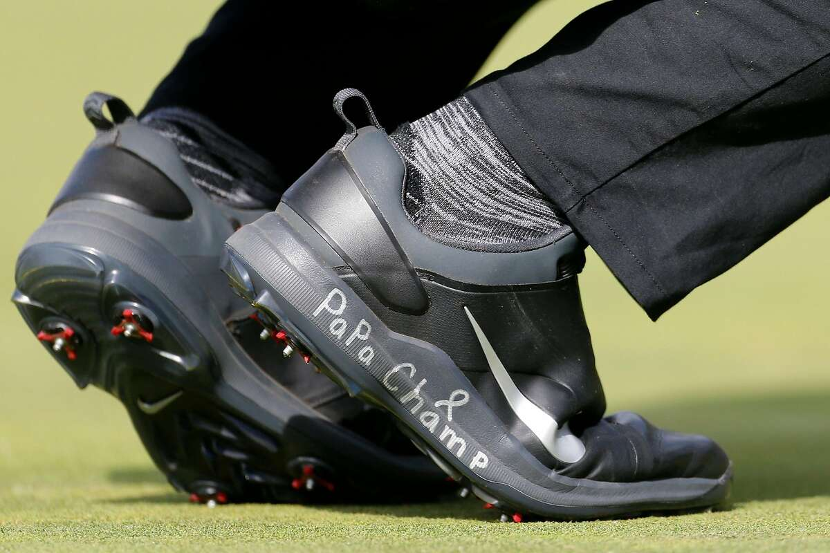 NAPA, CALIFORNIA - SEPTEMBER 29: A detailed view of Cameron Champ's shoes with an inscription for his grandfather, Mack, who is battling Stage IV stomach cancer, during the final round of the Safeway Open at the Silverado Resort on September 29, 2019 in Napa, California. (Photo by Jonathan Ferrey/Getty Images)
