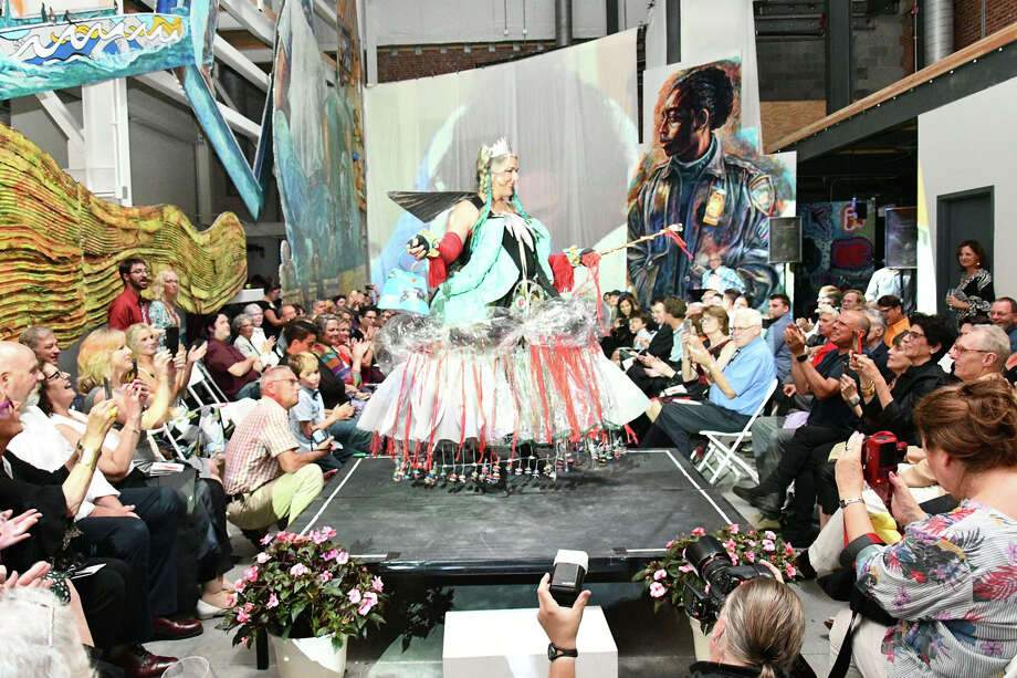 """The American Mural Project held their """"Art Of Work Gala"""" fundraiser, on Saturday, September 28th, 2019. The event featured a light show, a Recycled Runway, Dancing, live music, Hors D'ourves, and dessert. The event was sold out! Photo: Lara Green- Kazlauskas/ Hearst Media"""
