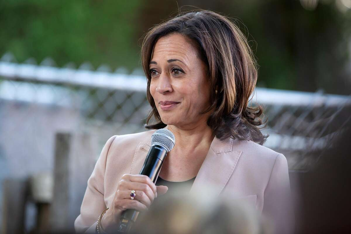 Senator Kamala Harris speaks to packed yard during the official opening of her Hometown Headquarters California campaign office in Oakland, Calif. on Sunday, September 29, 2019.