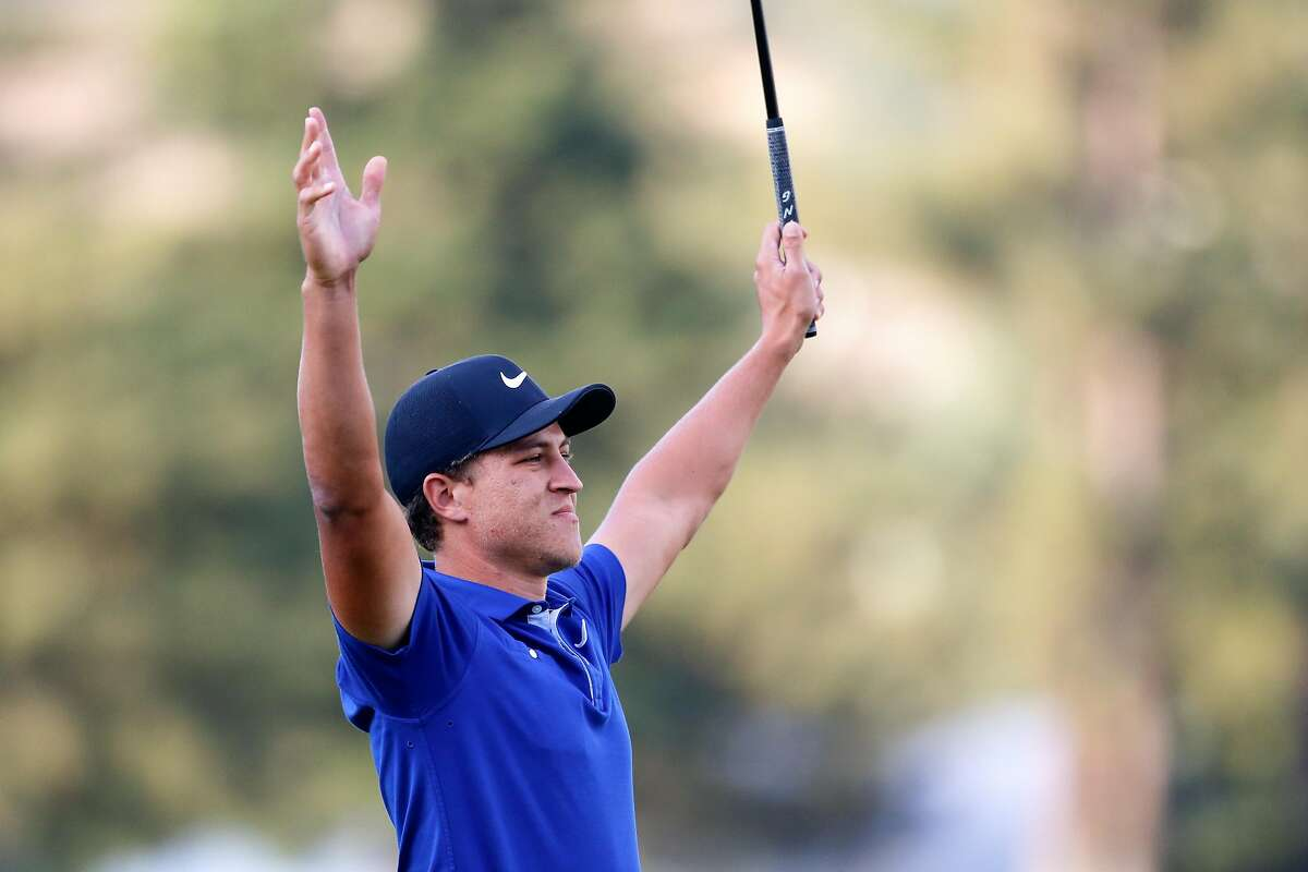NAPA, CALIFORNIA - SEPTEMBER 29: Cameron Champ reacts to winning the final round of the Safeway Open at the Silverado Resort on September 29, 2019 in Napa, California. (Photo by Jonathan Ferrey/Getty Images)