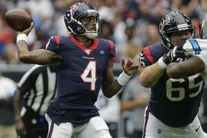 Houston Texans quarterback Deshaun Watson (4) throws the ball against the Carolina Panthers during the second quarter of an NFL game at NRG Stadium Sunday, Sept. 29, 2019, in Houston. The Panthers won 16-10.