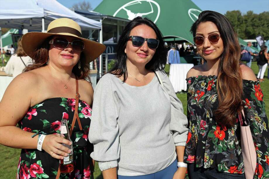 From left, Irene Bermeo of Bridgeport, Karina Bawden of Stamford, and Ariana Sanchez of Stamford, at the Victory Cup Polo Match & Hot Air Balloon Festival held at the Fairfield County Hunt Club on Saturday, Sept. 28, 2019, in Westport, Conn. Photo: Jarret Liotta / Jarret Liotta / ©Jarret Liotta