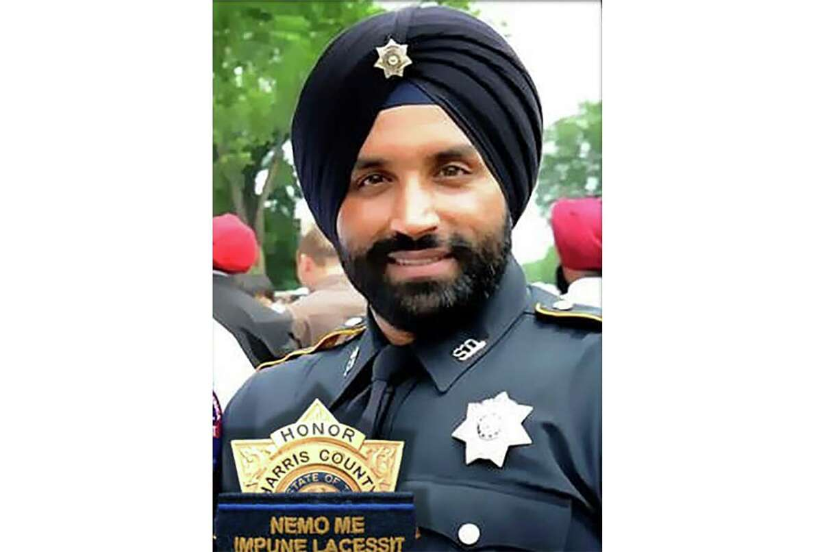 This photo provided by Harris County Sheriff's Office shows Deputy Sandeep Dhaliwal. Dhaliwal, who was slain Friday, Sept. 27, 2019, was the first Sikh deputy on the force.