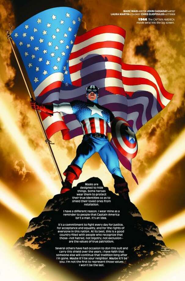 This image provided by Marvel Comics shows a page devoted to 1944 from Marvel Comics #1000, the publisher's 80th anniversary issue. The issue goes on sale Wednesday, Aug. 28, 2019, and features a page devoted to each year of Marvel's history through panels that explore its superheroes, like Captain America. (John Cassaday/Marvel Comics via AP)