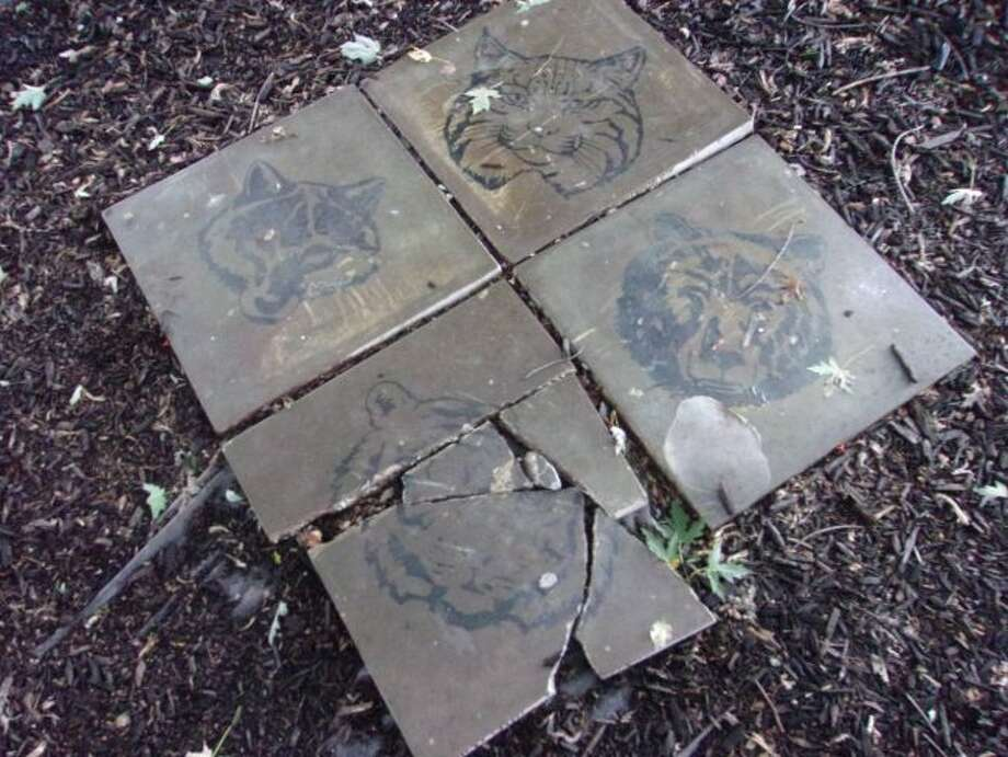 Reed City police are investigating the vandalism of a local Boy Scout monument. Officers said two of the tiles were damaged and one piece of the monument was stolen. (Courtesy photo)