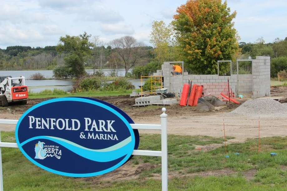 Construction of a bathroom facility in Elberta's Penfold Park has begun, part of an improvement plan fueled by a grant from the Department of Environment, Great Lakes and Energy. (Photo/Colin Merry)