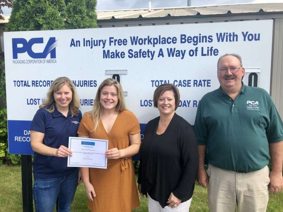 Manistee Manufacturing Council congratulates Allie Zimmerman (second from left), the $2,000 scholarship award recipient for 2019. Allie is a junior level engineering student at Michigan Tech University pursuing a bachelor's degree in Environmental Engineering.The MMC is made up of area manufacturing facilities including Packaging Corporation of America, Morton Salt, Martin Marietta Magnesia Specialties, FabLite, Noron and TES Filer Station. They are offering fall scholarship opportunities to qualified students pursuing a bachelor's degree in any engineering discipline and also students seeking a skilled trades certification. (Courtesy photo)