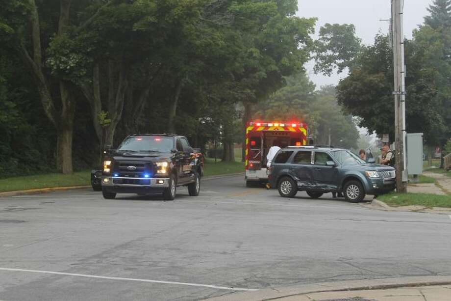 Officers were at the scene of a traffic crash in Manistee on Wednesday morning. (Ashlyn Korienek/News Advocate)