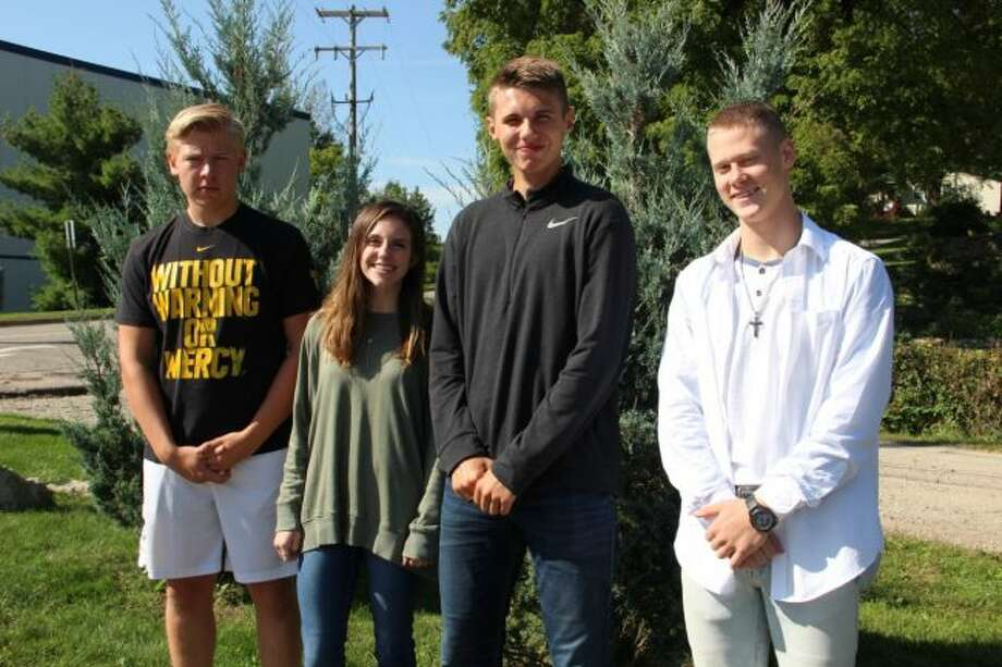 Pictured is the senior class homecoming court. From left to right, students are Tyler Hund, Mackenzie Cole, Caleb Buys and David Peck. Not pictured are Kellie Holsworth and Jada Meeuwes. (Courtesy photo)