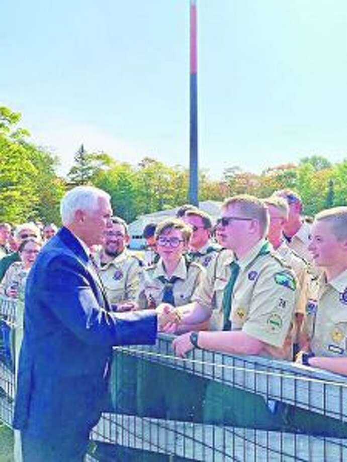 Scouts join the receiving line to shake hands with Vice President Mike Pence during his visit to Mackinac Island on Saturday, Sept. 21. The scouts were participating in the BSA Mackinac Rendezvous over the weekend. (Courtesy photo)