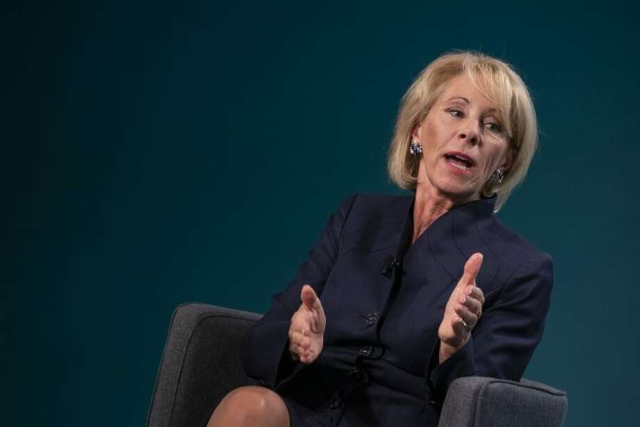 Betsy DeVos, secretary of education, speaks during the Wall Street Journal CFO Network conference in Washington, D.C. on Tuesday, June 11, 2019. (Alex Edelman/Zuma Press/TNS)
