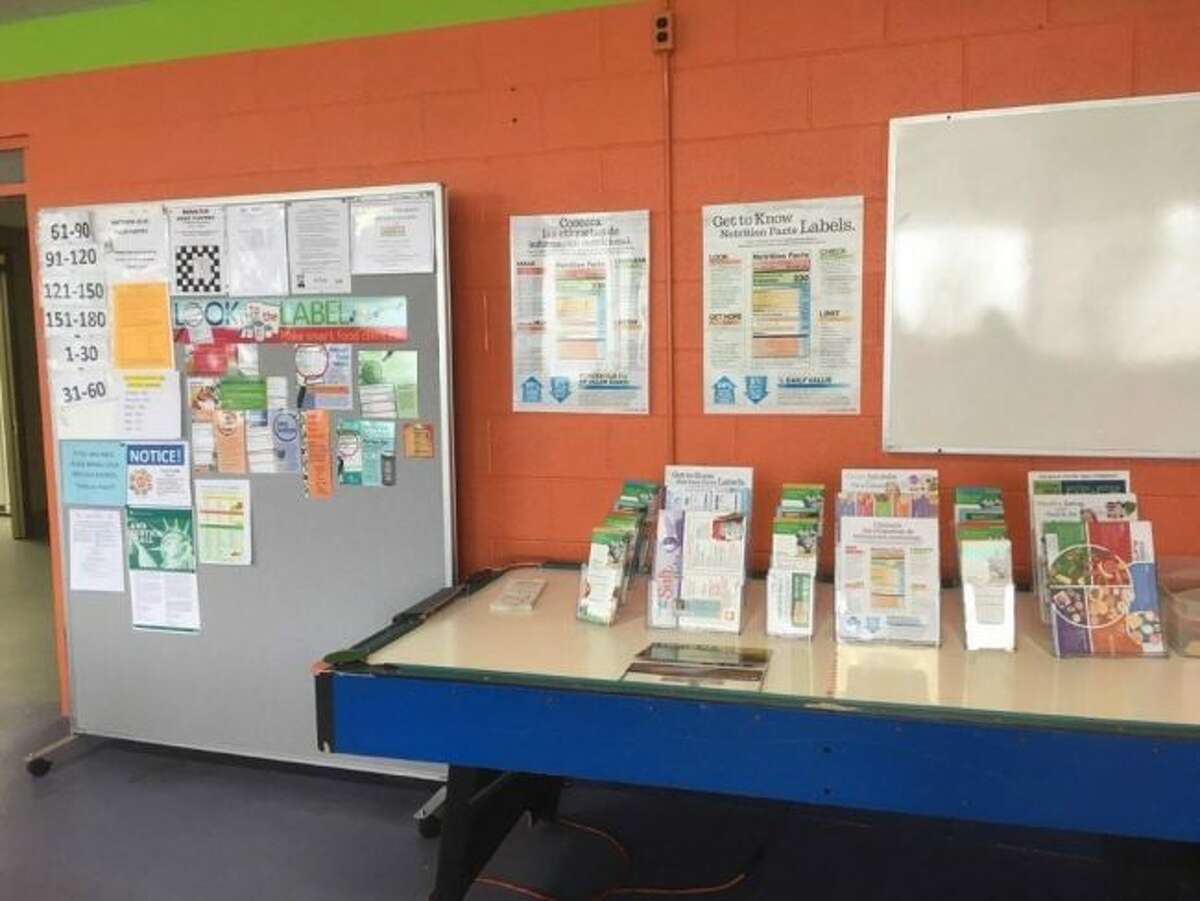 Pictured are the Divine Mercy Parish Mathew 25:35 food pantry's new educational material and displays. (Courtesy Photo/DHD No. 10)