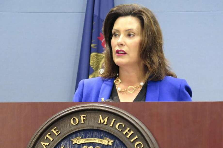 FILE - In this Aug. 28, 2019 file photo, Michigan Gov. Gretchen Whitmer speaks at a news conference in Lansing, Mich. (AP Photo/David Eggert File)