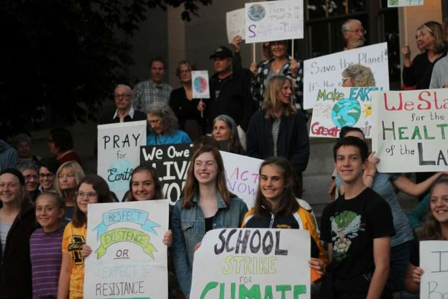 Climate activists, motivated by fears of catastrophic environmental collapse gathered on Friday as part of a global climate strike. (Scott Fraley/News Advocate)