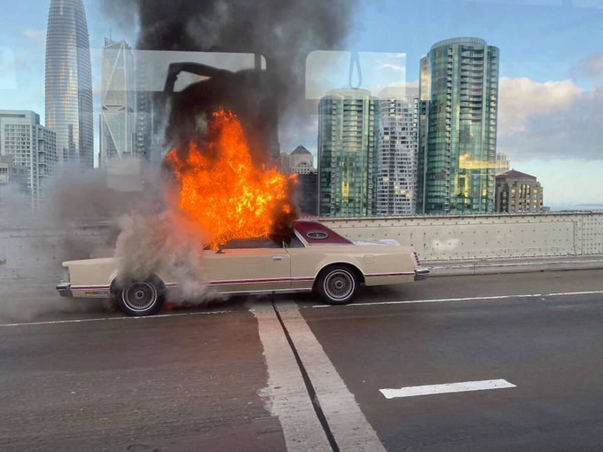 A car fire on the westbound upper-level of the Bay Bridge caused traffic to stall on Sept. 30, 2019.