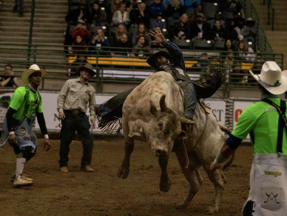 Goldthwaite, TX. rider J.W. Harris rides Crash during Conroe Bull Mania on Saturday, Oct. 20, 2018 at the Lone Star Expo Arena in Conroe. Photo: Cody Bahn, Houston Chronicle / Staff Photographer / © 2018 Houston Chronicle