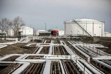Oil storage tanks in in Szazhalombatta, Hungary, on February 13, 2019.