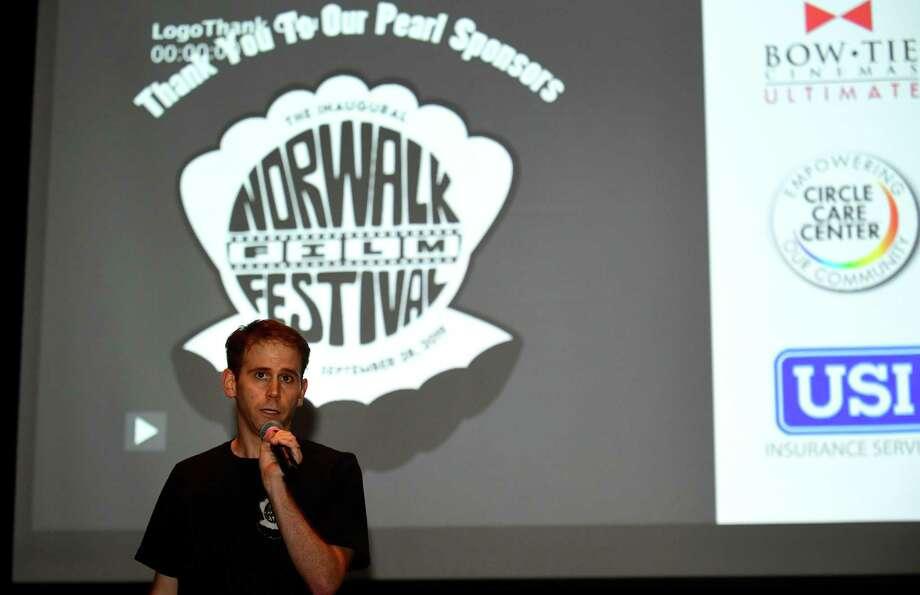 Nate Pancione announces the film at Norwalk Community College during The Norwalk Film Festival Saturday, Setember 28, 2019, in Norwalk, Conn. Photo: Erik Trautmann / Hearst Connecticut Media / Norwalk Hour