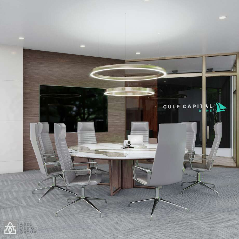 Gulf Capital Bank expects to open later this year or early next 2020. Pictured is a rendering of its branch that will be located on the first floor of One Riverway, which is at the corner of Woodway Drive and South Post Oak Lane. Photo: Abel Design Group