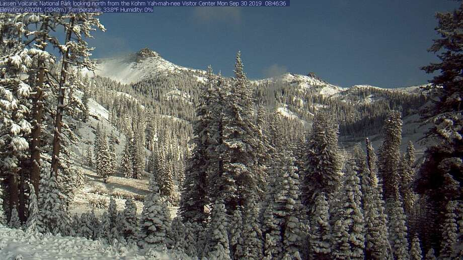 A snowy scene at Lassen Volcanic National Park on Sept. 30, 2019. Photo:  Lassen National Park Webcam