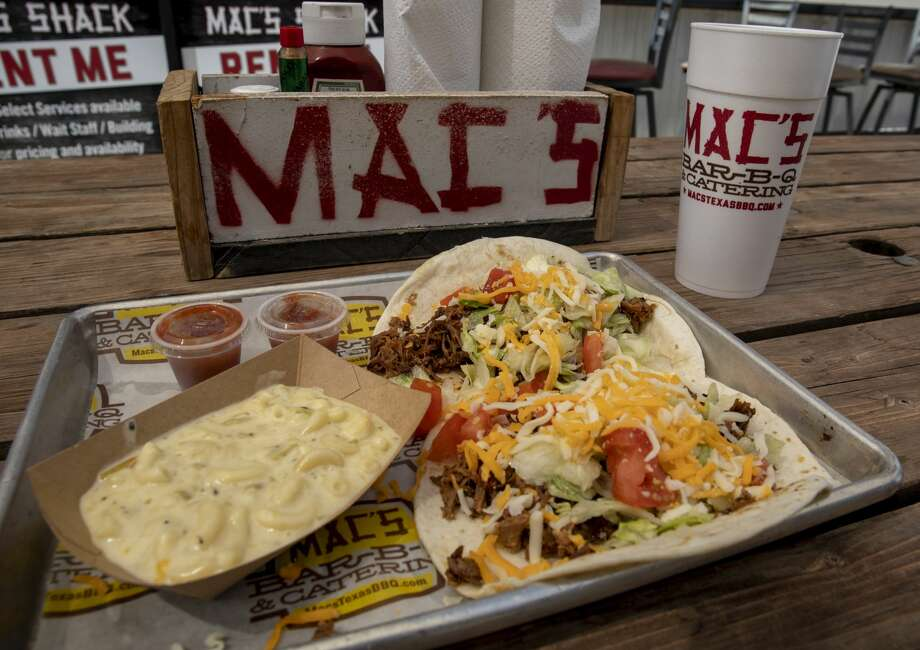 Among the offerings at Mac's Bar-B-Q & Catering is brisket tacos. Photo: Jacy Lewis/Reporter-Telegram