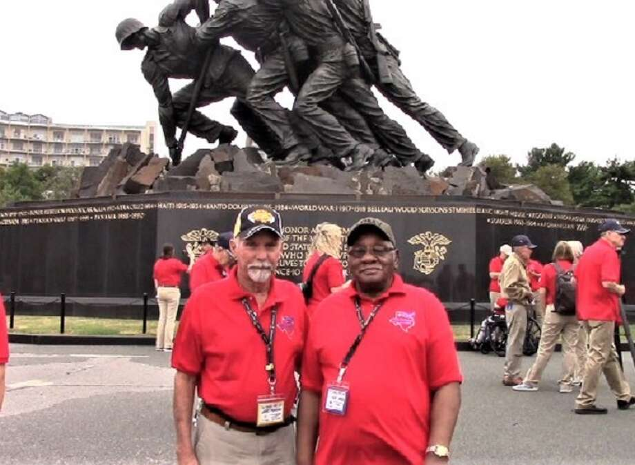 Plainview veterans Larry Perkins (right) and L. C. Owens traveled to Washington D.C. earlier this month with the Texas Panhandle Honor Flight. Photo: Courtesy Photo/Larry Perkins