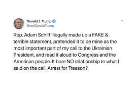 President Donald Trump suggests Rep. Adam Schiff to be charged with treason.