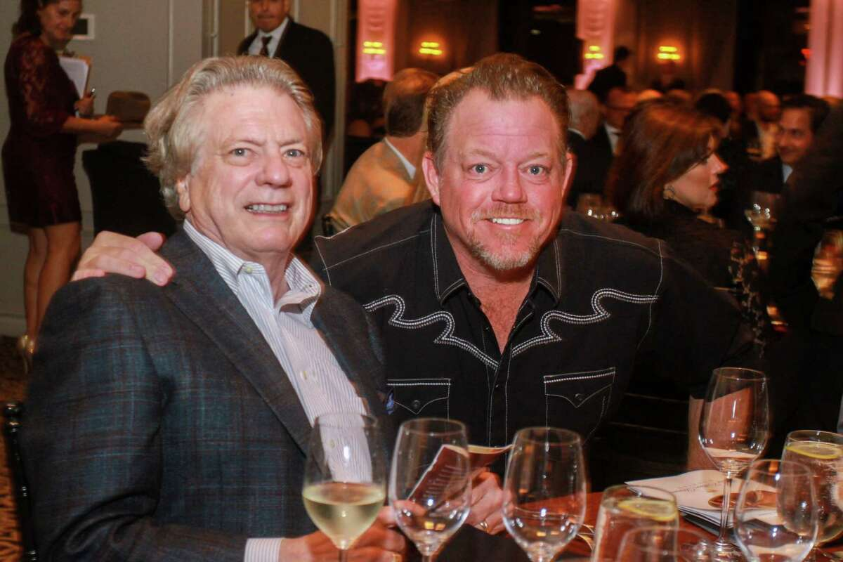 Michael Stewart of Stewart Cellars, left, and Pat Green at the Best Cellars Wine Dinner at Hotel ZaZa on September 26, 2019.