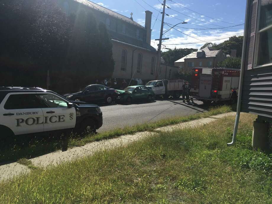 Three cars crashed on Robinson Avenue in Danbury on the afternoon of Monday, Sept. 30, 2019. Photo: / Contributed Photo