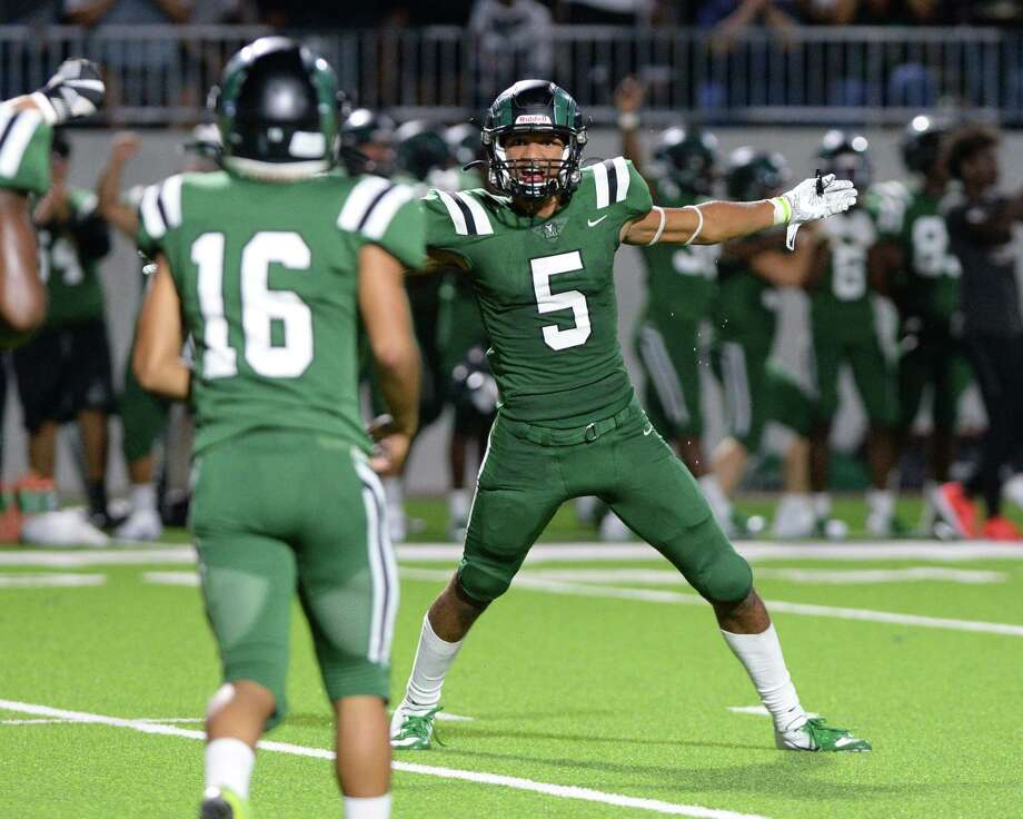 Demetrius LeDet (5) of Mayde Creek reacts following a field goal by Elias Cruz (16) in the fourth quarter of a non-district football game between the Mayde Creek Rams and the Ft. Bend Austin Bulldogs on Saturday, September 7, 2019 at Legacy Stadium, Katy, TX. Photo: Craig Moseley, Houston Chronicle / Staff Photographer / ©2019 Houston Chronicle