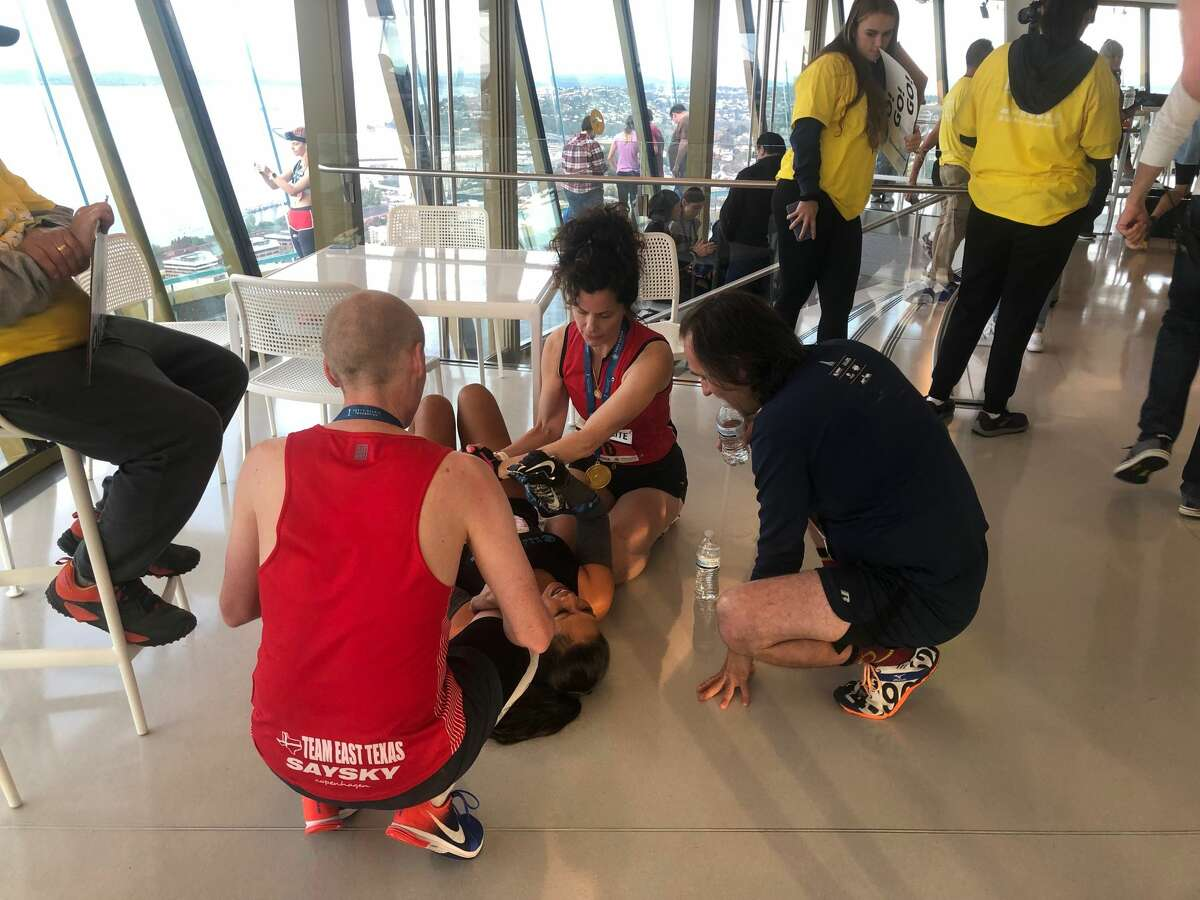 """The fifth annual """"Base 2 Space"""" climb brought out about 2,500 participants to race up the 832 stairs to the top of the Space Needle. The event benefits the Fred Hutchinson Cancer Research Center."""