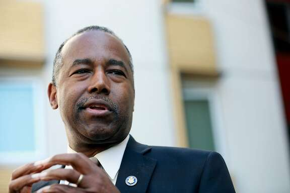 HUD Secretary Ben Carson� during a visit to an affordable housing project in the Potrero Terrace public housing project in San Francisco, on September 17, 2019.
